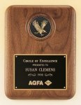 American Walnut Plaque with Eagle Medallion Achievement Award Trophies