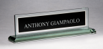 Glass Name Plate with Black Center Boss Gift Awards