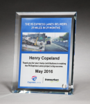Personalize Your Glass Award with Four-Color Reproduction. Clear Glass Awards