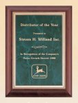 Cherry Finish Wood Plaque with Emerald Marble Plate Employee Awards