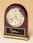 Rosewood Piano Finish Desk Clock on a Brass Base Executive Gift Awards
