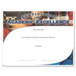 Academic Excellence Fill in the Blank Certificates