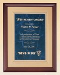 Cherry Finish Wood Plaque with Florentine Plate Walnut Plaques
