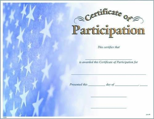 photograph regarding Printable Certificates of Participation titled Image Certification of Participation Fill within the Blank